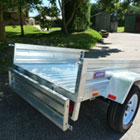 rear of small road trailer with rear door apache